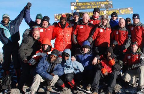 The summit of Kilimanjaro with a group of Scottish trekkers
