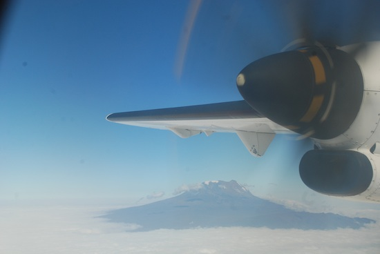 Aeroplane wing over Kilimanjaro