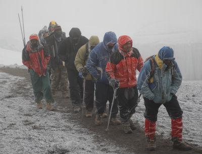 Snowy trek for ten steps