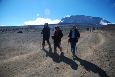 Walking across the Saddle of Kilimanjaro