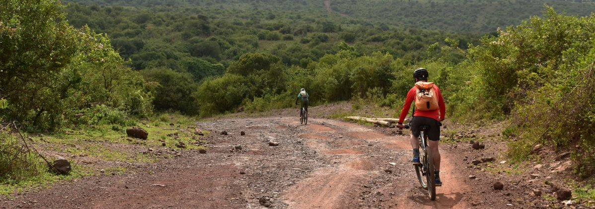 Cyclist on the northern slopes of Kilimanjaro