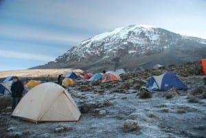 Kilimanjaro's Barafu Campsite covered with a light dusting of snow