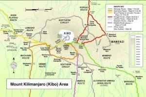 Trekking map showing the paths up Kilimanjaro to the summit