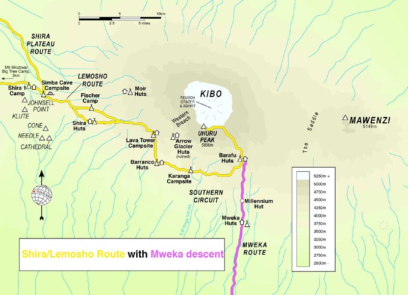 Map of Lemosho Route with Mweka descent