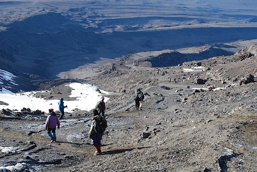 Descending towards Kilimanjaro's Barafu Campsite on the Machame Route