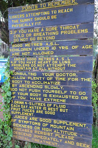 Signboard on Kilimanjaro on fitness preparation