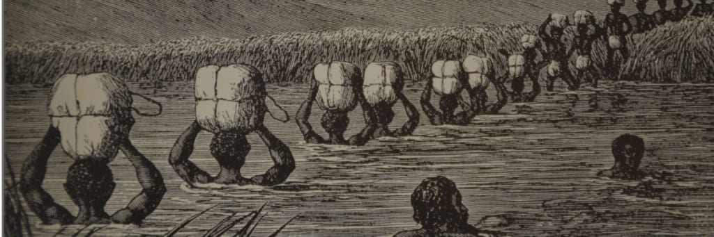 Sketch of African porters carrying sacks across a river up to their shoulders