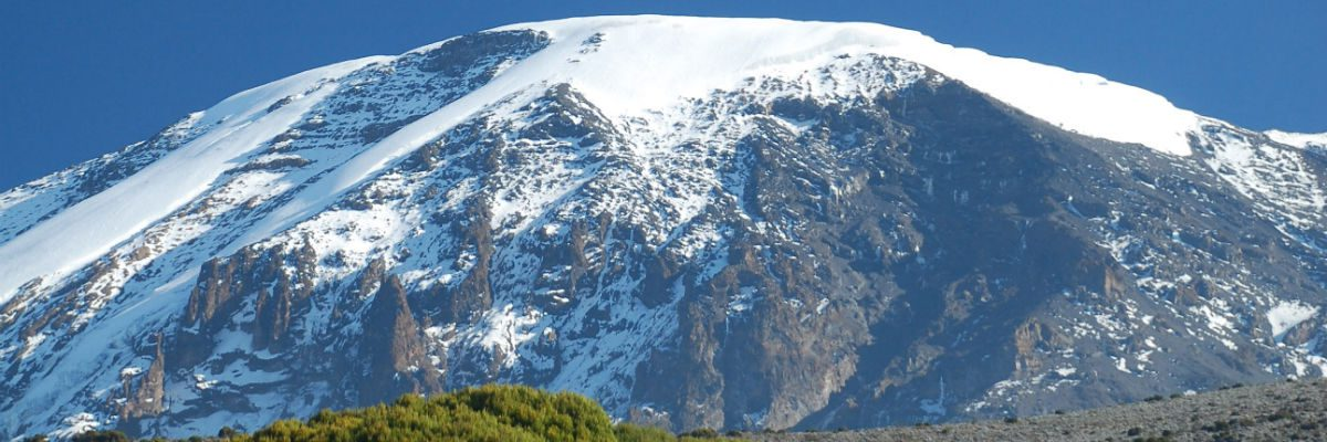 The Kibo summit of Kilimanjaro after a fresh dump of snow