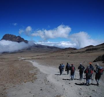 Descending on the Marangu Route from Kibo Huts towards Mawenzi