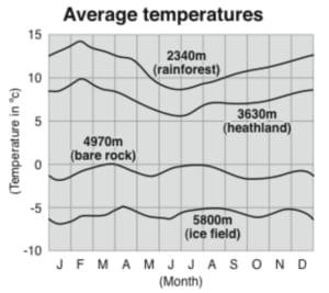 Chart showing average temperature on Kilimanjaro