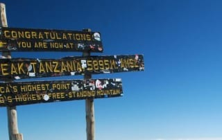 Beautiful shot of the sign at the summit of Kilimanjaro