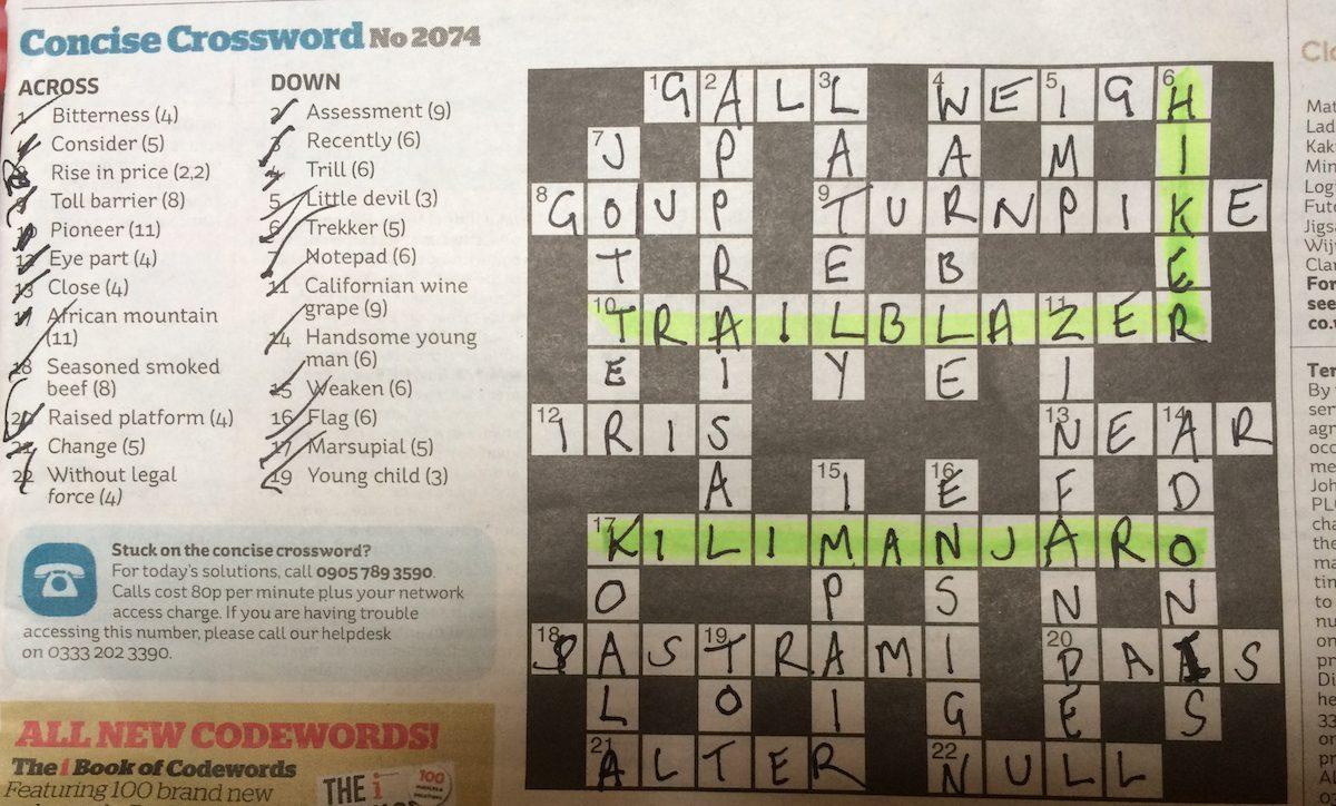 A crossword featuring Hiker, Trailblazer and Kilimanjaro