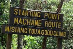 The routes up Kilimanjaro - a wooden sign at the start of the Machame Trail