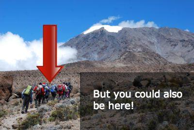 Line of trekkers approaching Kilimanjaro's Kibo summit