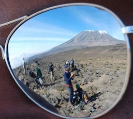 Kilimanjaro reflected in Sunglasses